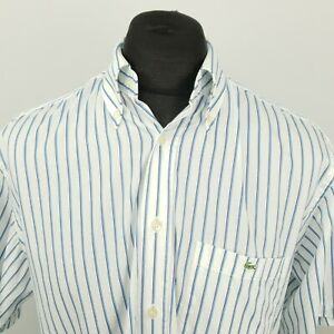Lacoste vintage pour homme shirt 43 XL manches courtes blanc regular fit en coton à rayures