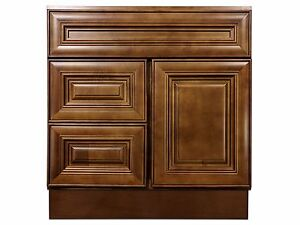 30-inch Vanity Cabinet with Left Drawers Chocolate Glaze ...