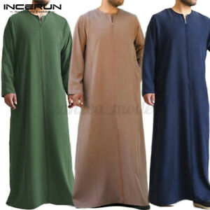 Men-039-s-Long-Sleeve-Arab-Thobe-Islamic-Formal-Saudi-Robe-V-Neck-Kaftan-Dress-Tunic