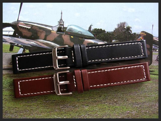 22mm XL Black Brown Oil Tan calf Military Chrono watchband Pilot strap IW SUISSE
