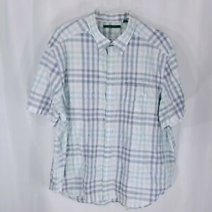 Perry-Ellis-Mens-Button-Down-Short-Sleeve-Collared-Blue-Plaid-Shirt-Size-3X