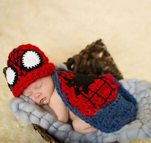 Newborn Babys Boy Crochet Knit Costume Photo Photography Prop Outfits Spider Man