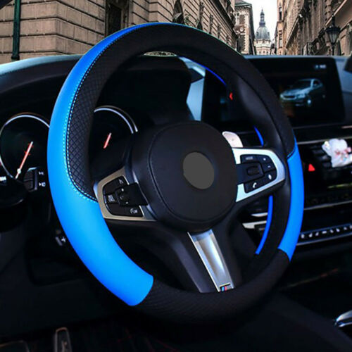 PU Leather Steering Wheel Cover Anti-slip Protector For Car Fit 38cm Black Blue
