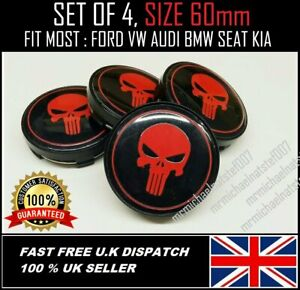 X-4-PUNISHER-RED-ALLOY-WHEELS-CENTRE-CAPS-60mm-FORD-SEAT-KIA-BMW-HONDA