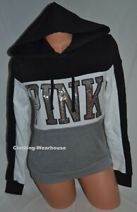 3071ef0b2b4ef Details about Victoria's Secret PINK Black White Gray Silver Bling Perfect  Pullover Hoodie XS