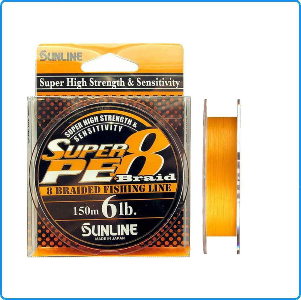 DYNEEMA SUPER PE8 SUNLINE 20lb 0.235mm 150mt Coloreee arancia MADE IN JAPAN