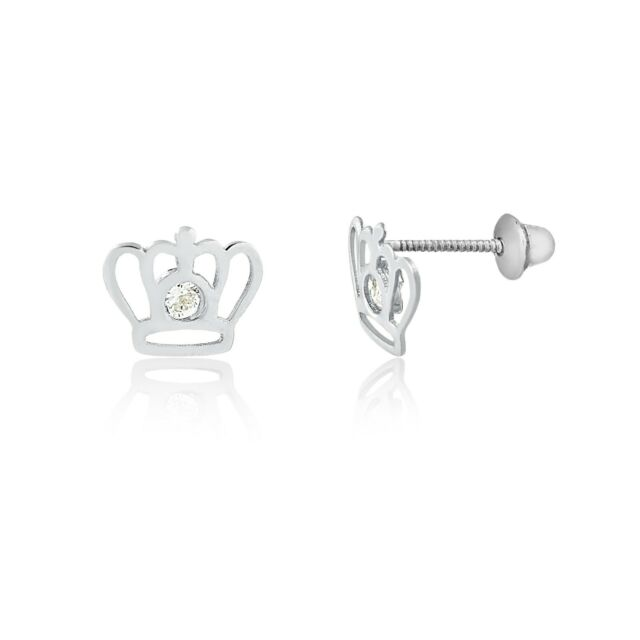 218b52c14 Frequently bought together. 18k Solid White Gold Crown Cubic Zircon  Children Screw Back Stud Earrings