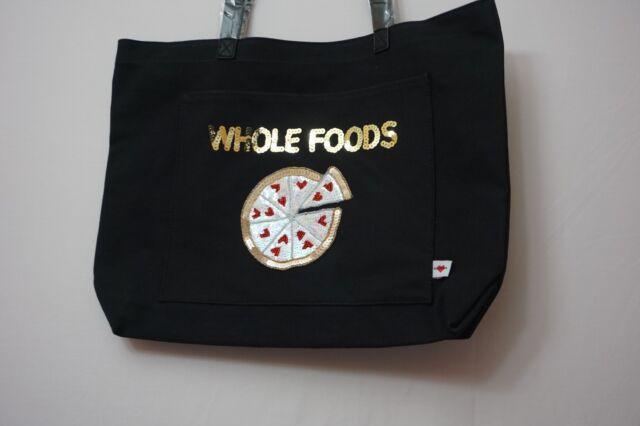 Bow D Black Denim Tote Bag Whole Foods Sequins W Pizza