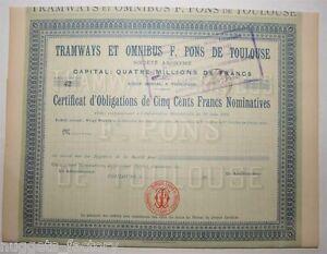 Certificat D Actions: Sté Tramways Et Omnibus F.pons De Toulouse ( 566 ) Ehbtrl1j-08005729-433879827