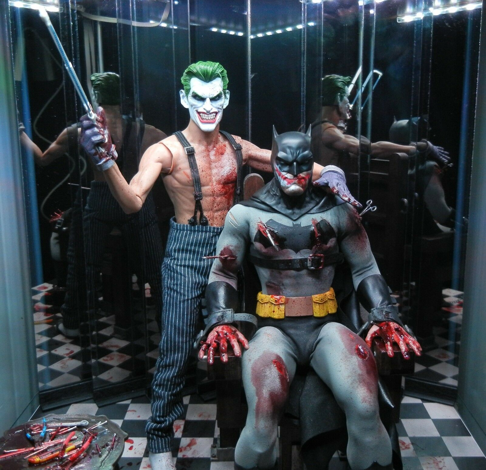 Custom 1/6 12 inch Batman Joker Torture scene Hot Toys Sideshow parts Mezco