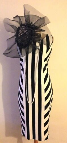 NEW MICHAELA LOUISA BLACK AND WHITE CLASSIC DRESS WITH CHEVRON STRIPES