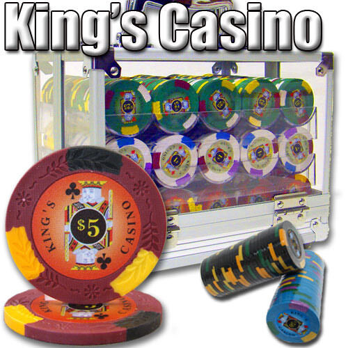 Pick Chips! New 600 Kings Casino 14g Clay Poker Chips Set with Aluminum Case