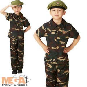 e2f44c691 Army Soldier + Beret Kids Fancy Dress Military Camo Boys Girls ...