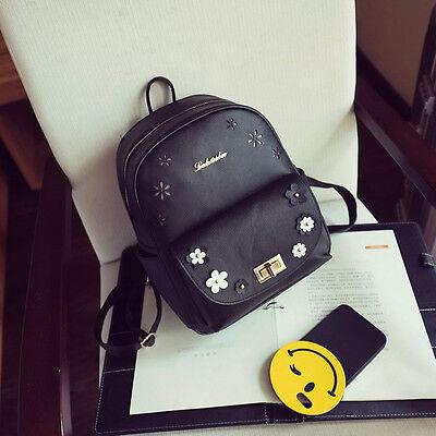 Women Flower Leather Backpack Lady Shoulder Bag Girl Cute School Bag Travel Bags