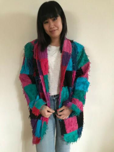 Color Block Jacket Couture Car Pool Fringed Art Gu