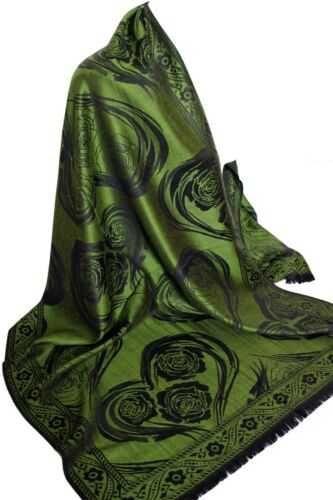 Reversible Two Sided Heart Print Pashmina Feel Wrap Shawl Scarf Stole Hijab