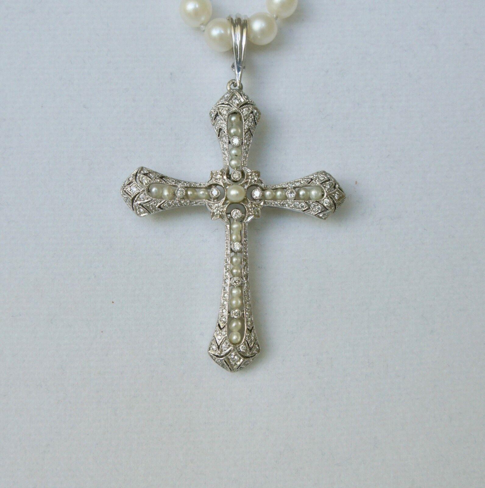 3a85d697a12 Antique Beautiful Diamond   Pearl Platinum Cross Pendant 110 Diamonds 14.2  gr. nijpfp793-Necklaces   Pendants