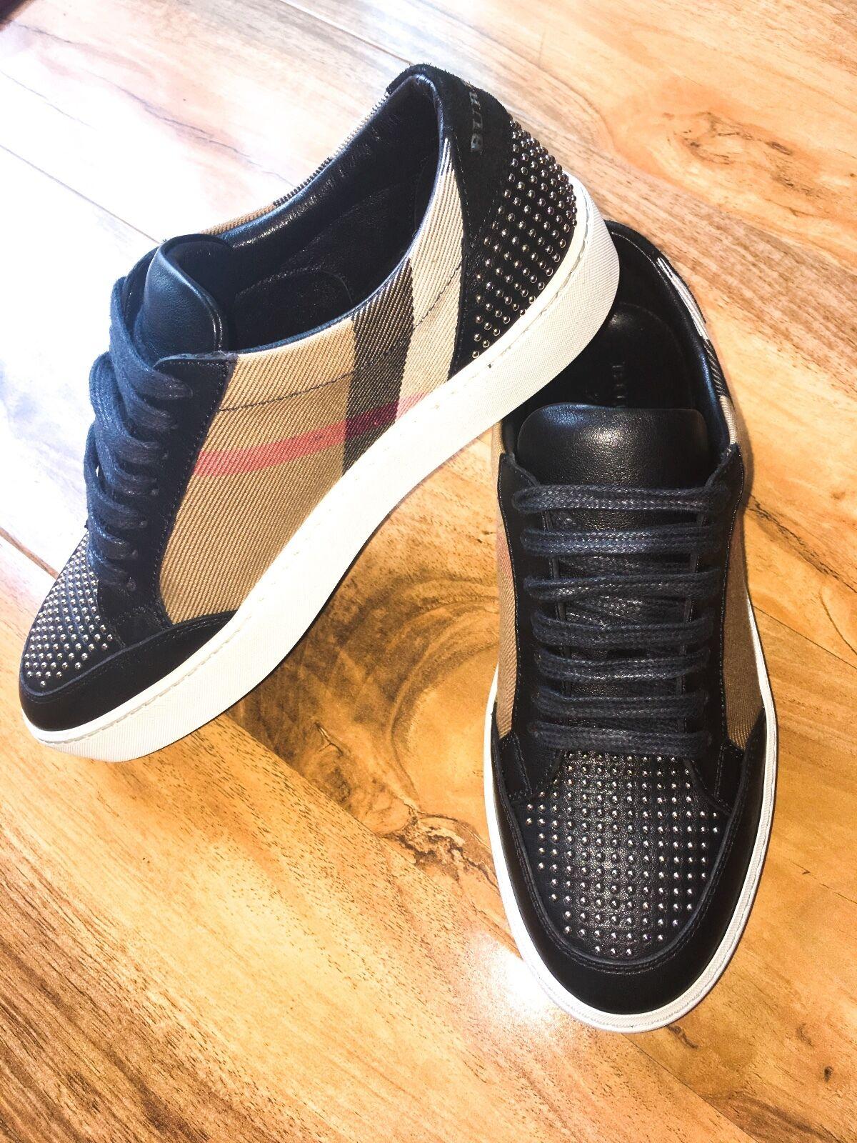 Totalmente nuevo para mujeres Burberry LOW TOP zapatillas con tachuelas tachuelas tachuelas euro 35 UK 2 3 0b13aa