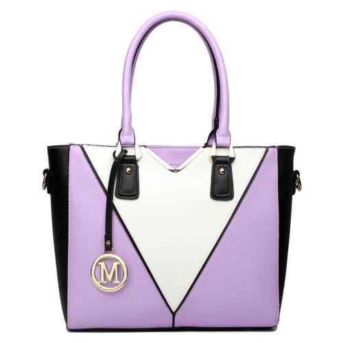 Women Designer PU Leather Shoulder Handbag Tote Patchwork Snake Skin V-Shape