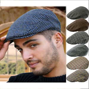 MENS-TWEED-CHECK-VINTAGE-HERRINGBONE-WOOL-MIX-FLAT-CAP-GATSBY-BAKER-BOY-NEWSBOY