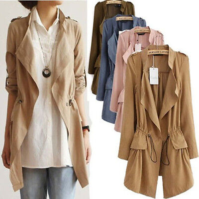 NEW Spring Women Casual Vintage Drawstring Boho Blazer Jacket Cardigan Thin Coat