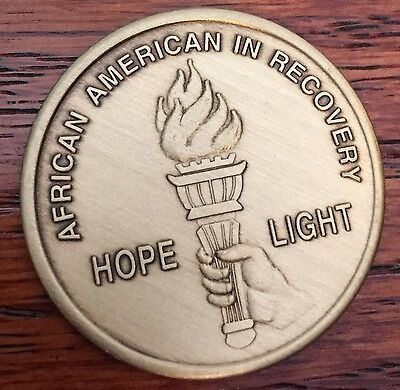 African American Torch Hope Serenity Prayer Bronze Recovery Medallion Chip AA