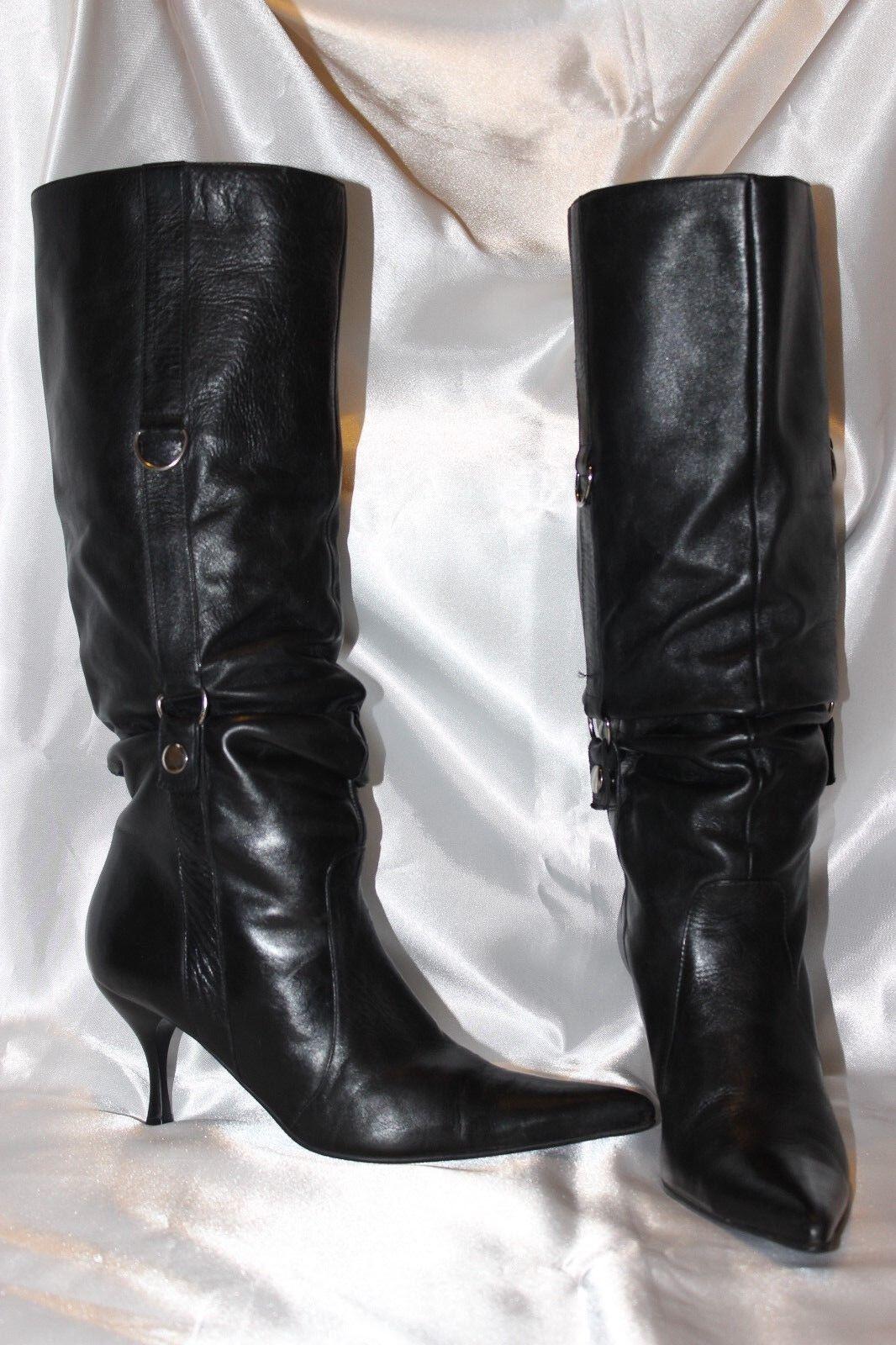 STUDIO G noir en Cuir Véritable femmes bottes Hautes Talons chaussures Taille 5