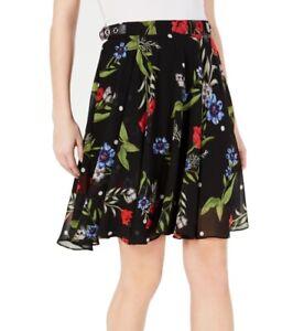 Guess Women's Skirt Black Size 26 Floral Print Buckle Grace A-Line $69 #885
