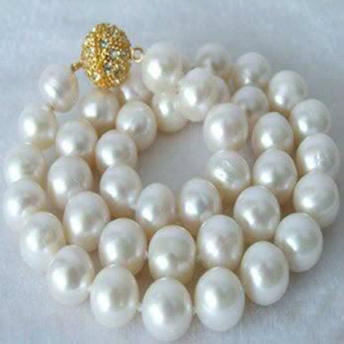Hand Knotted 14 mm White Shell Pearl PERLES rondes Collier AAA Belle
