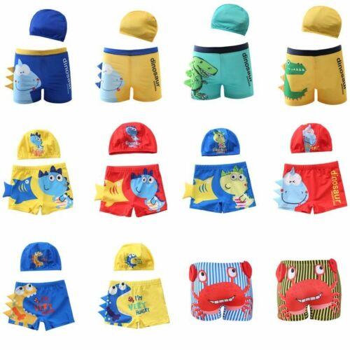 Boys Swimming Trunks Children/'s Swimwear Kids Swimsuit Dinasour Trunks Hat