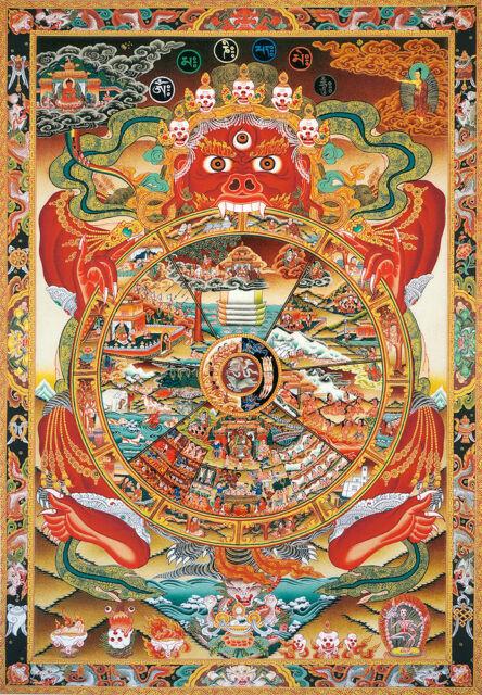 48inch Tibet Buddhist Thangka Bhavacakra Samsara Wheel Of Life Brocade Scroll 2 For Sale Online Ebay