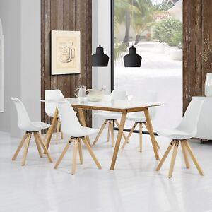 Details zu [en.casa]® Esstisch Bambus mit 6 Stühlen gepolstert weiß Tisch  [180x80] Stühle