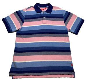 ⭐️Izod Men's Short Sleeve Golf Polo Shirt Size M Striped Pink Blue⭐️