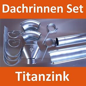 dachrinne set titanzink komplettpaket komplettset fallrohr einlauf ebay. Black Bedroom Furniture Sets. Home Design Ideas