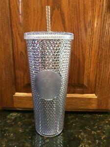 Starbucks Christmas Holiday Platinum Silver Studded Venti Tumbler Cup 2019 New