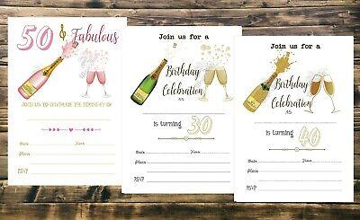 envs 18th 21st 30th 40th Personalised champange birthday invitations invites