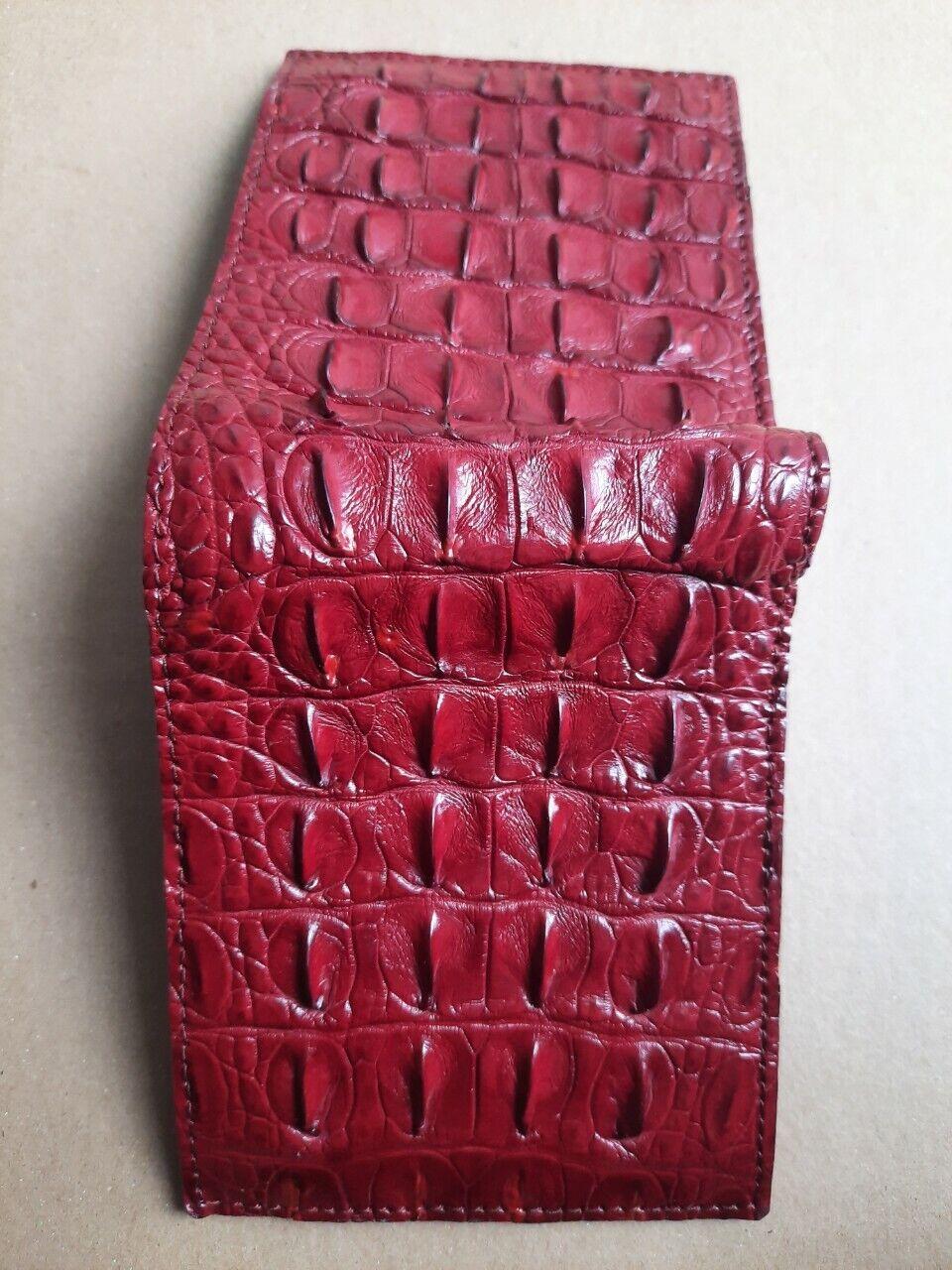 RED GENUINE Alligator,CROCODILE s bally Leather Skin MEN'S BIFOLD WALLET.