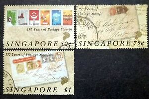 Singapore-1990-150th-Years-Of-Postage-Stamps-Loose-Set-Short-2-3v-Used