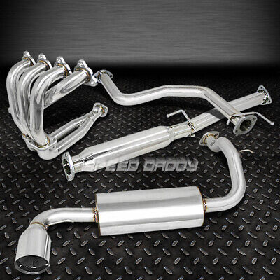 """88-91 CIVIC 3DR DX SI 4/"""" BURNT TIP CATBACK CAT BACK+PIPING+HEADER EXHAUST SYSTEM"""