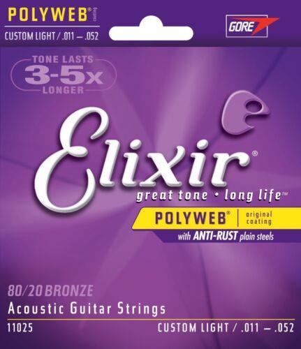 5 Sets Elixir 11025 Coated Acoustic Guitar Strings 11-52 Custom Light Free Ship