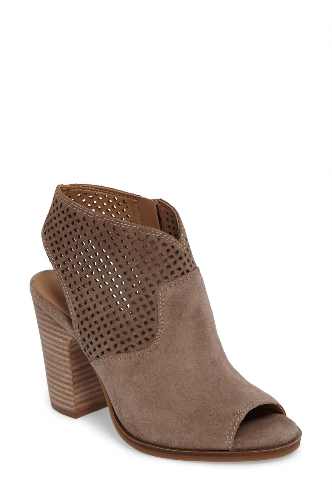 Lucky Brand LIZARA Perforated Block Heel Sandal BRINDLE SUEDE