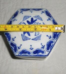 Vintage Puzzle Box Blue with White Flowers Trinket Box Ceramic