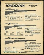 1963 WINCHESTER Model 70 African , Varmint and Taget Rifle AD w/prices & specs