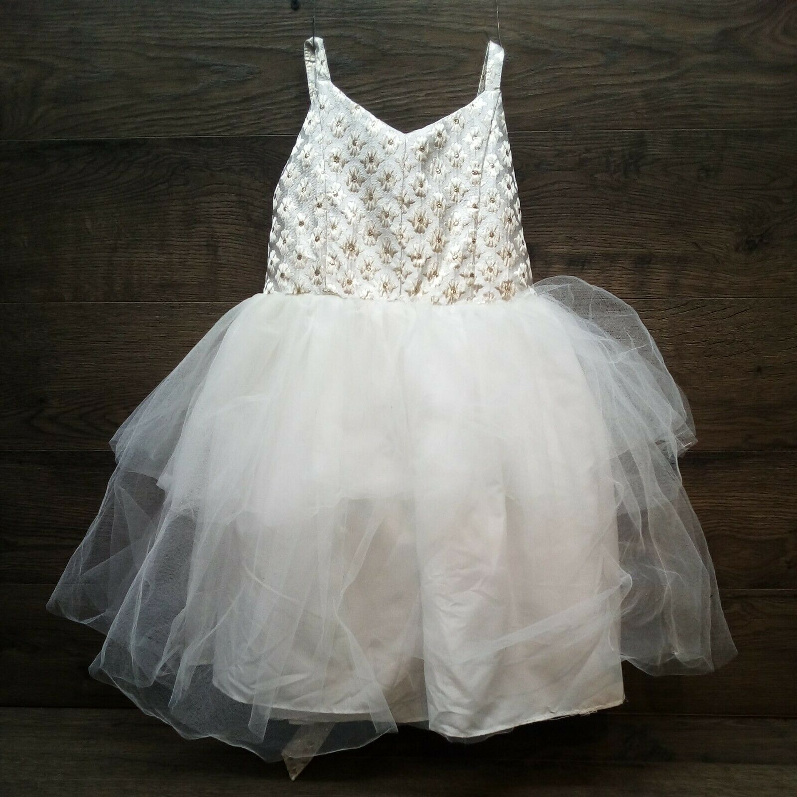 Marmellata Gold And Ivory Flower Girl-Ballerina Party Dress Size 6