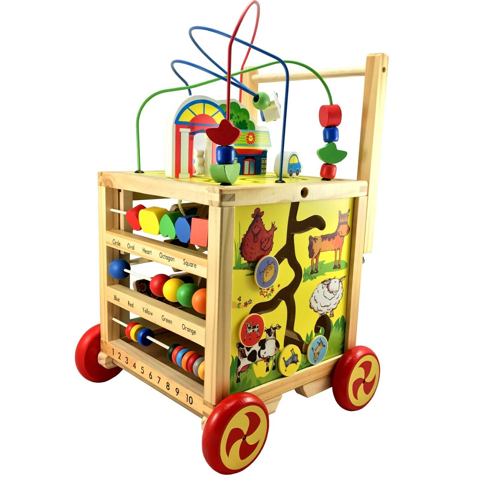 Motor Cube Motor Motor Motor Skills Toy of Wood Baby Walker First Walker Walkers Center 956179