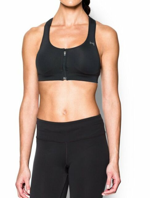 Neuf Avec étiquettes Under Armour Protegee High Impact Support Front Zip Black Women/'s Sports Bra