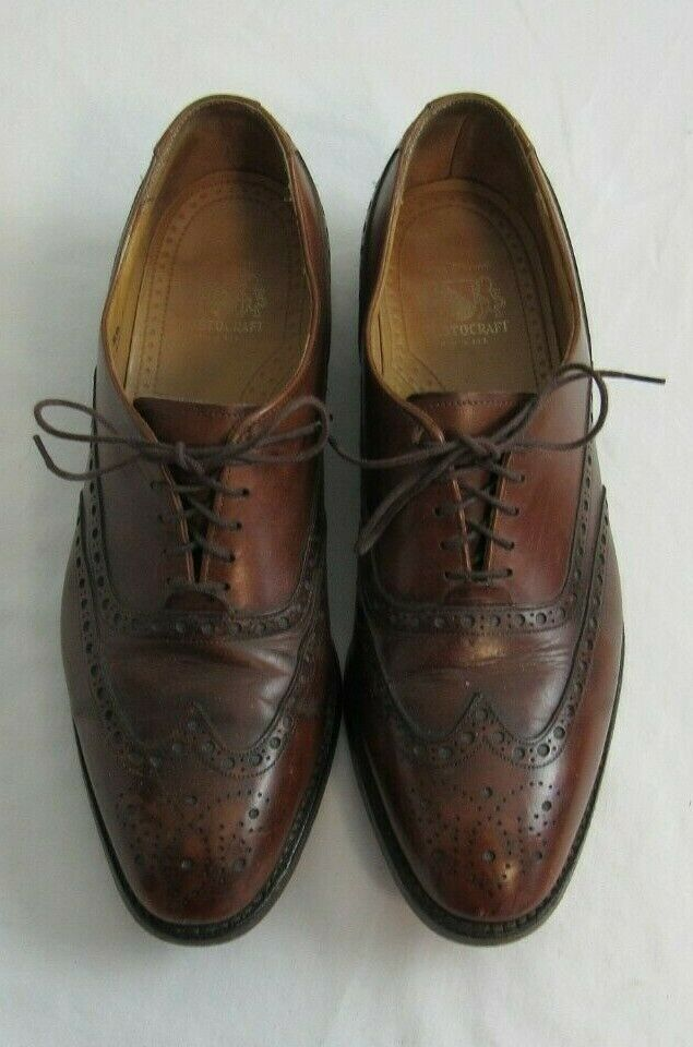 Vintage Johnston Murphy Aristocraft Wingtip Brogue Brown Size 9.5 B/2A USA Made