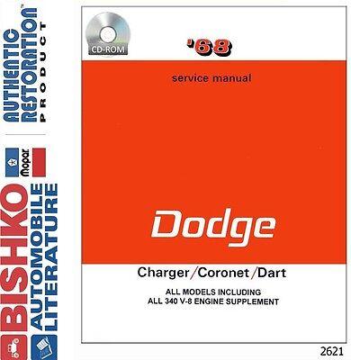 1968 Dodge Charger Coronet Dart Shop Service Repair Manual CD Engine Drivetrain