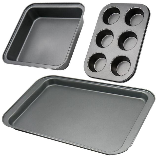 Non Stick 3pc Cupcake Cake Baking Roasting Tray Set Oven In Pan Tin