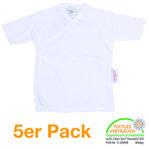 Gr 62 5er Pack Wickelhemdchen 1//4 Arm weiß